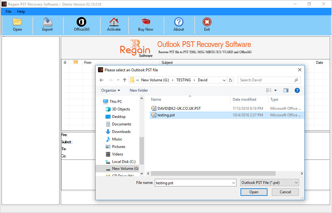 Select Outlook PST file for Scanning