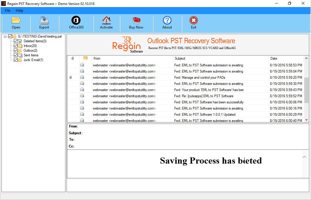 Successfully Save Repaired Outlook PST File